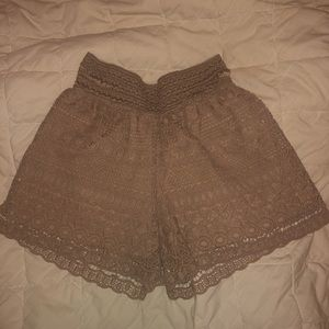 Brown Lace Shorts